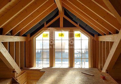 Blockhaus, Fenster, Obergeschoss, Innenausbau, Holzhaus