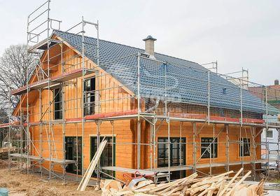 Individuelles Blockhaus im Odenwald, Satteldach, ökologisch Bauen, gesund Wohnen