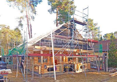 Sie sehen ein Holzhaus