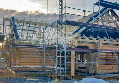 Naturstammhaus Yukon Canada bei Siegen, Winkelbungalow, Baustoff Holz