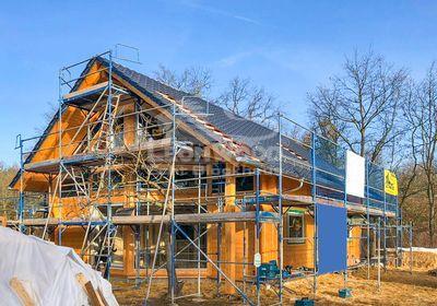 Blockhaus Adria 140 Cottbus, Glasgiebel, ökologisch Bauen, natürlich dämmen