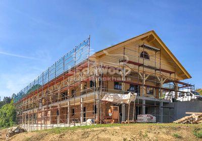 Doppel-Blockhaus LeonWood Wels Österreich, Balkon, Terrasse, Garage