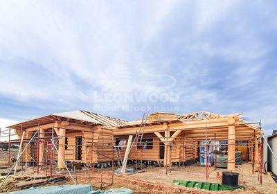 """Naturstammhaus """"Yukon Canada """" in Oberösterreich, Fichtenholz, Baumstämme"""