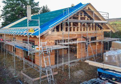 Holzhaus Espoo 108 individualisiert Kassel, skandinavischer Stil, Lärchenholz, Baustoff Holz