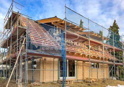 Massivholzhaus California Blue Berlin, Bauen mit Holz